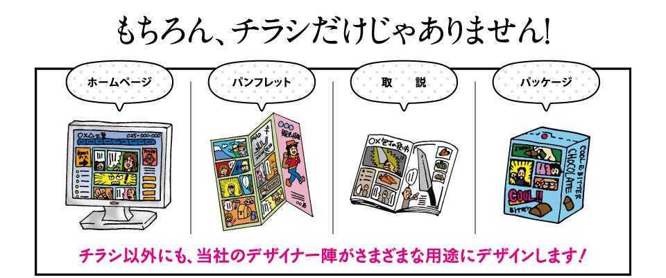漫画の活用例。ホームページ・パンフレット・取説・パッケージ